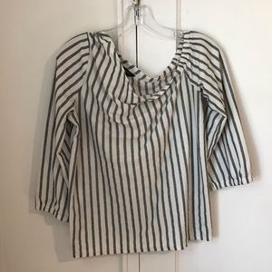 Gray/white Striped One Shoulder Blouse (M)